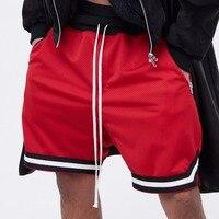 Nieuwste high street fashion streetwear kleding hip hop mannen korte Casual mannen Broek streep broek kleur zwart wit rood