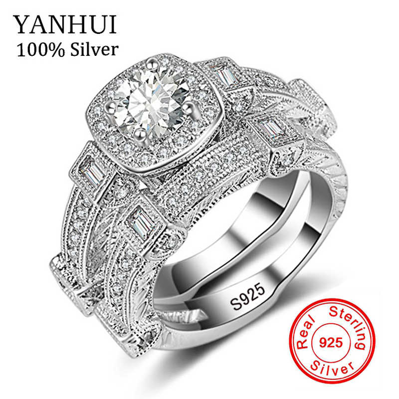 YANHUI Fine Jewelry Real Solid 925 Silver Rings Set for Women Micro Inlay Cubic Zirconia Band Wedding Rings Gift 2pcs/set KR235