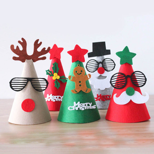 Lovely Christmas Party Hat Ideas Part - 11: DIY Merry Christmas Hat Felt Santa Cap Santa Claus/Snowman Christmas Shape  For Kids Adults