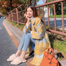 Kadın Kış Yün Uzun Ekose Mont Kore Tarzı 2018 Bağbozumu Rahat Zarif Cepler  Kadın Sarı Palto 33851f8fdf9