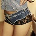 Короткие feminino новая мода сексуальная Вспышка Мозаика Кружева Beach Resort джинсовые шорты женщины pantalones cortos mujer короткие джинсы