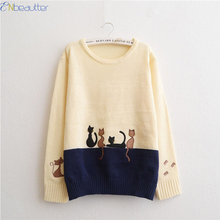 ENbeautter Cartoon Cat Embroidery Women's Sweater Autumn Winter 2017 New Fashion O-Neck Print Slim Girl's Casual Loose Pullover