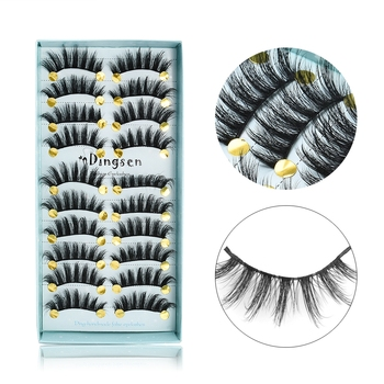 10 Pairs 3D Soft Faux Mink Hair False Eyelashes Natural Messy Eyelash Crisscross Wispy Fluffy Lashes Extension Eye Makeup Tools