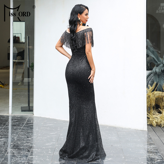 Missord 2019 Women Sexy O Neck Mesh Tassel Dresses Female Glitter Dress Elegant Maxi Bodycon Party Dress FT19008 1