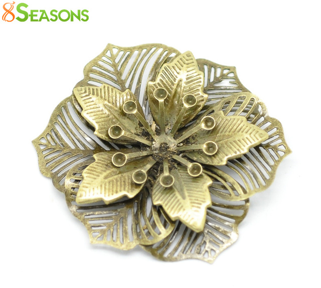 8SEASONS 10 Antique Bronze Filigree Flower Embellishments Findings 5.5x4.8cm(can hold SS10 rhinestone) (B18567)