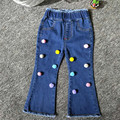 Girl Elastic Waist Jeans With Colorful Wool Ball Classical Boot Cut Denim Pants Kids Children's Jeans Baby Clothing Girls Bottom