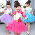 3-14Years de Idade As Crianças Dançando Vestido Agradável Bonito Lantejoulas Partido Vestido Vestido De Baile das Meninas Linda Menina Voile Realizando Vestido + luvas