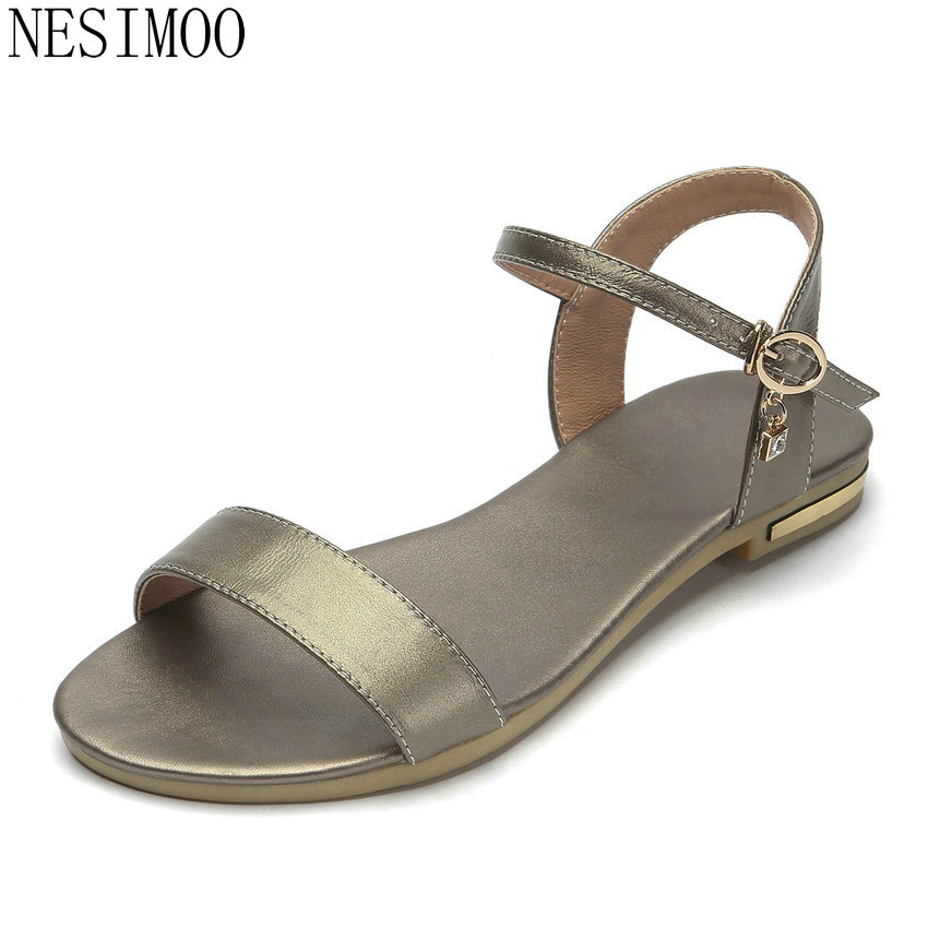 NESIMOO 2018 Women Sandals Women Shoes Platform Low Heel Casual Summer Buckle Women Sandals Size 34-43