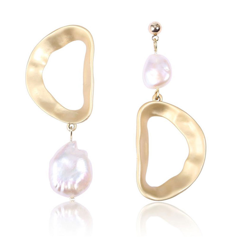 2019 Women Earrings Handmade Geometric 14K Gold Plated 925 Silver Stud Natural Baroque Pearl Earring Best jewelry Gifts for Love(China)