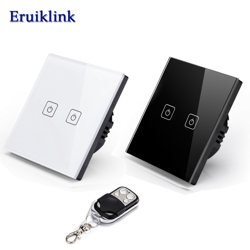 EU/UK RF433 Remote Control Light Switch,Eruiklink Crystal Glass Panel  Touch Screen Switch,AC110~250V, LED indicator Wall Switch smart home us black 1 gang touch switch screen wireless remote control wall light touch switch control with crystal glass panel