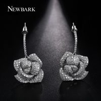 NEWBARK New Luxury Statement Micro Paved Cubic Zircon Rose Flower Stud Earrings Wedding Bijoux Bridal Jewelry for Women