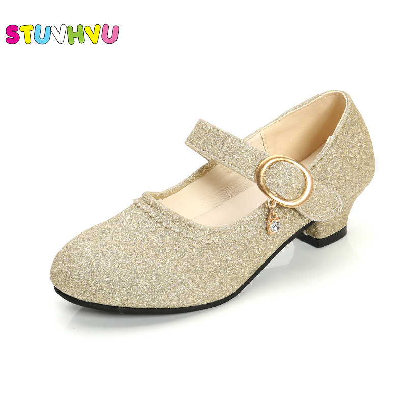 Girls High Heel Leather Shoes Dance Shoes Children's Kids Princess Shoes Non-slip Student Performance Shoes Pink Blue Gold