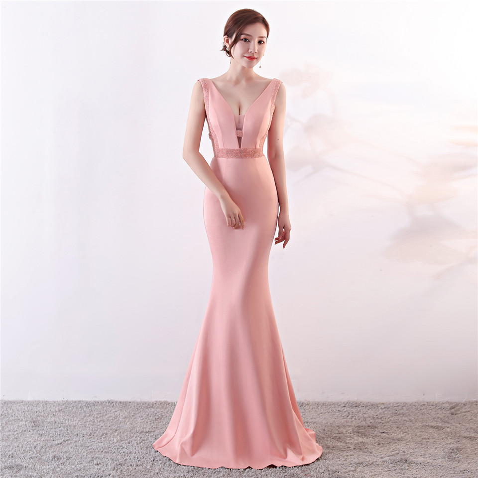 It's Yiiya Party Gowns V-neck Sleeveless Sexy Mermaid Evening dress Beading Floor-length Zipper back trumpet Prom dresses C151
