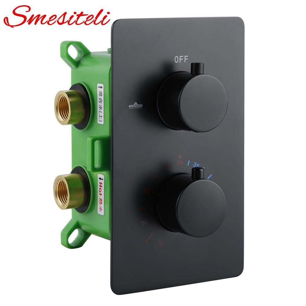 Твердая латунная отделка с объемом Theremostatic смесительный клапан 1/2 ips женские соединения температура воды скрытый контроль переключатель