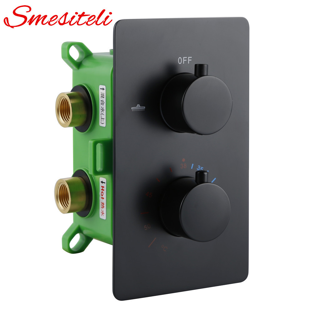 Solid Brass Trim With Volume Theremostatic Mixing Valve 1/2 IPS Female Connections Water Temperature Concealed Control Diverter