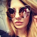 Mulheres lentes redondas tshing oversized cat eye sunglasses 2017 new moda feminina marca designer ceteye espelho uv400 óculos de sol glasse