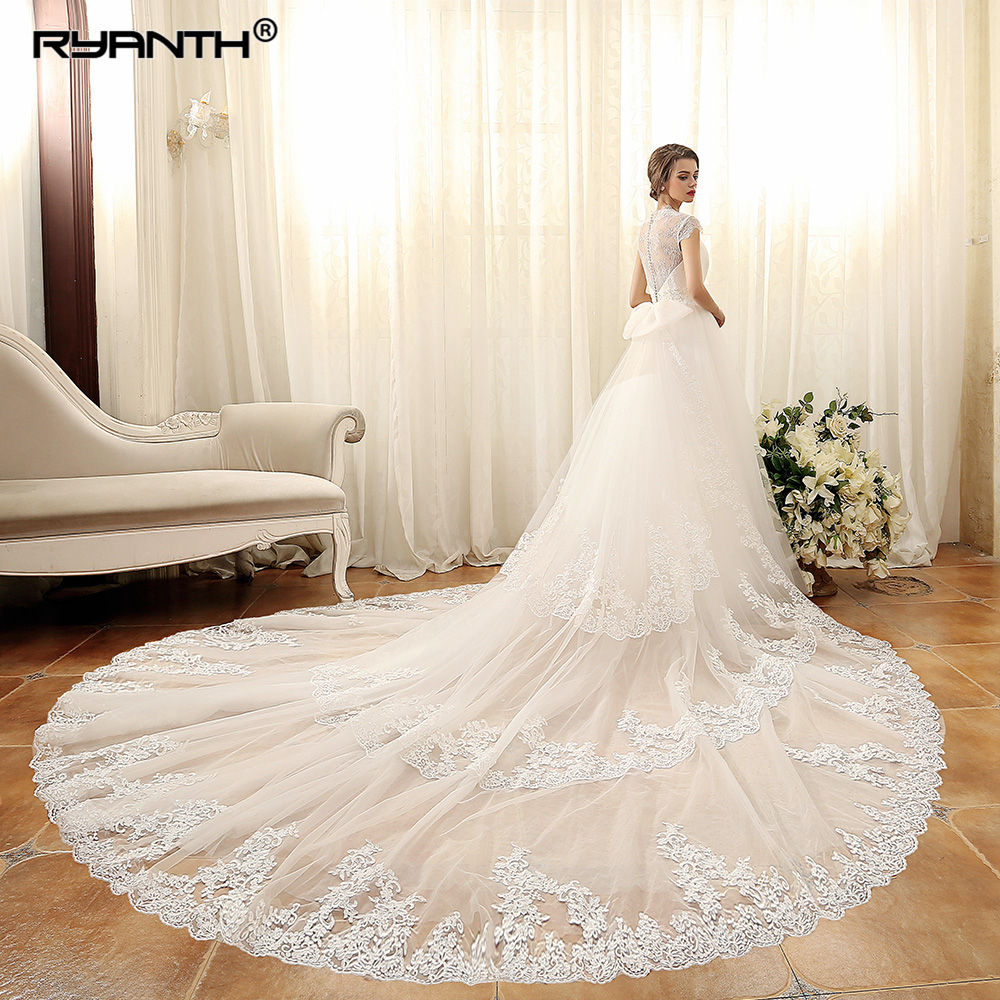 Detachable Trains For Wedding Gowns: Vestido De Noiva Luxury Detachable Long Train Wedding