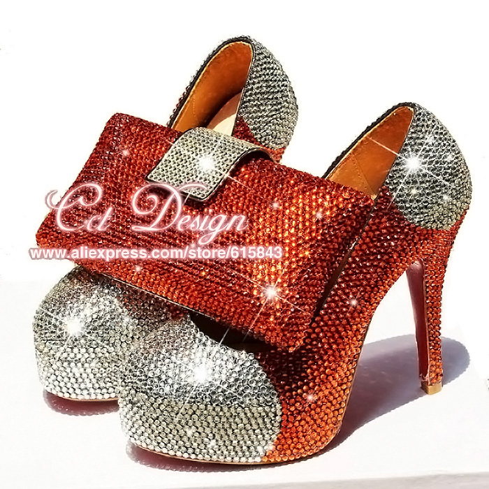 Something White Wedding Shoes Customized Sparkly Orangered High Heels Platfrom Party Evening Shoes Italian Shoes And Bag Set something red wedding shoes customized sparkly diamond red high heels platfrom party evening shoes italian shoes and bag set