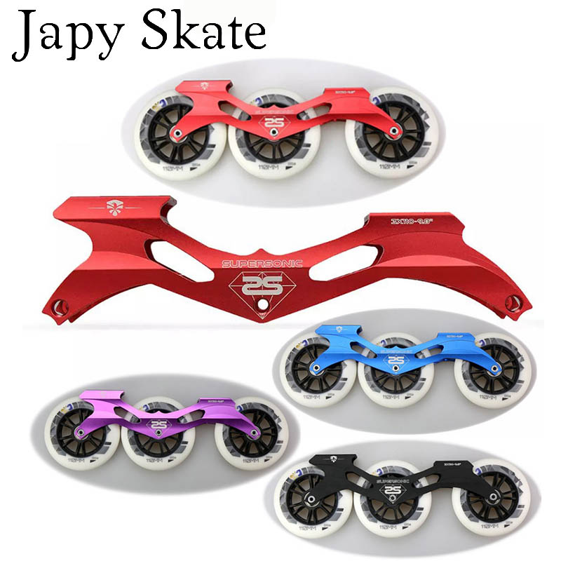 Japy Skate 100% Original Flying Eagle Supersonic Inline Speed Skate Frame With 3X110mm 85A Wheels Aluminum CNC 9.8'' Speed Basin