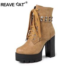 REAVE CAT Autumn Winter Buckle Boots Women High-Heels Lace Up Platform  Rivets Zipper Brown cf5cf62bd81d