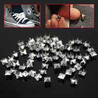 200pcs/Lot 7mm Silver Pyramid Studs Nailheads Rivets Spots Spike for Punk Rock Leathercraft Clothes Belt Bag Shoes Decoration