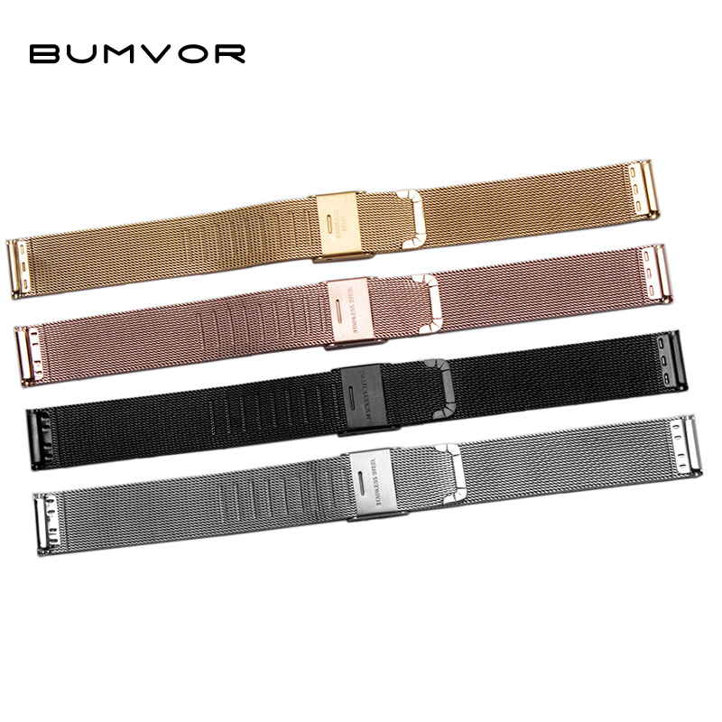 BUMVOR Milanese Watchband Universal Stainless Steel Metal WatchBand Strap Bracelet Black Rose Gold Silver 12 14 16 18 20 22 24mm zlimsn silver bracelet solid stainless steel watchband 18 20 22 24mm luxury military metal band replacement relogio feminino s15