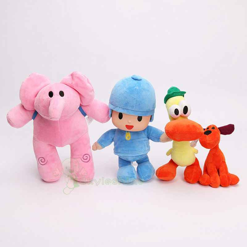 Skyleshine 4 pçs/lote Conjunto Completo POCOYO Plush Toy Stuffed Anime Boneca Dos Desenhos Animados POCOYO Elly pato Loula Brinquedos Dos Miúdos S22004