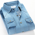 Spring 2017 Men's Snap-front Long Sleeve Casual Denim Shirts Soft 100% Cotton Two-Pockets Slim-fit Slight Elastic Jeans Shirt