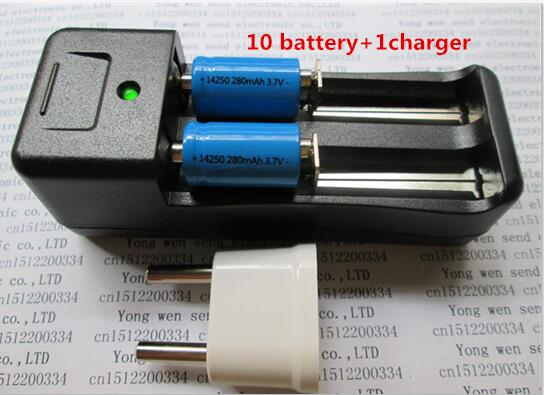 NEW ER14250 battery LS14250 ER14250H 1/2-R6 1/2 AA 3.6V/3.7V 280mah <font><b>14250</b></font> <font><b>Rechargeable</b></font> lithium batteries(10 battery + 1 charger) image
