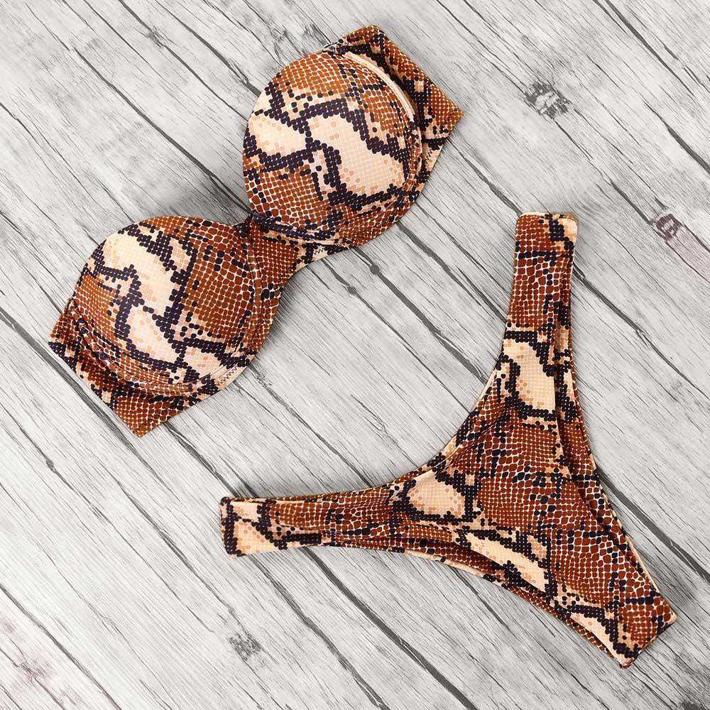 animal print leopard bikini push up swimsuit sexy women bikini set 2019 brazilian thong bathing suit bandeau beach wear swimwear 3
