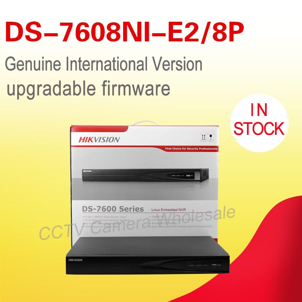 In magazzino original English version DS-7608NI-E2/8 P cctv NVR kit 8 PoE 2 SATA HD1080P 8ch NVR