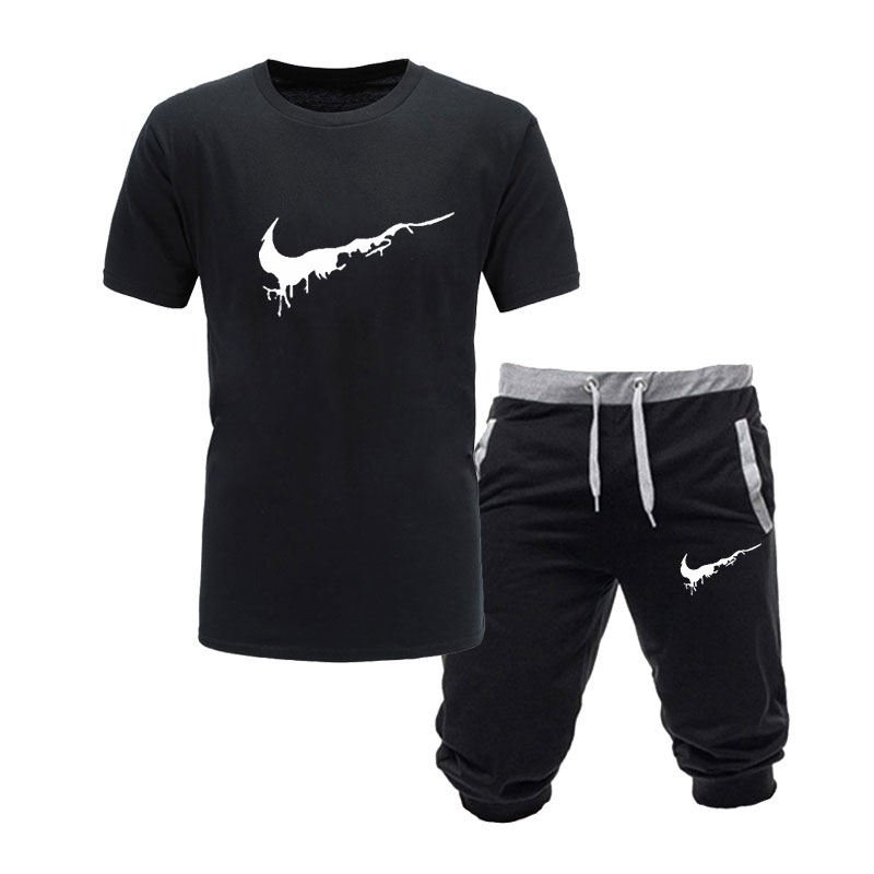 Fashion Tshirt Tees Shorts Men Clothing Two-Pieces-Sets Summer Tops High-Quality New Men