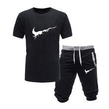 2019 New Men Fashion Two Pieces Sets T Shirts+Shorts Suit Me