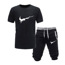 e004f8280ec1 2019 New Men Fashion Two Pieces Sets T Shirts+Shorts Suit Men Summer Tops  Tees