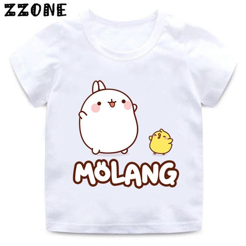 Boys And Girls Cartoon Molang And Piupiu Print T Shirt Kids Cute Rabbit Molang Bunny Funny Clothes Baby Summer T-shirt,HKP5217