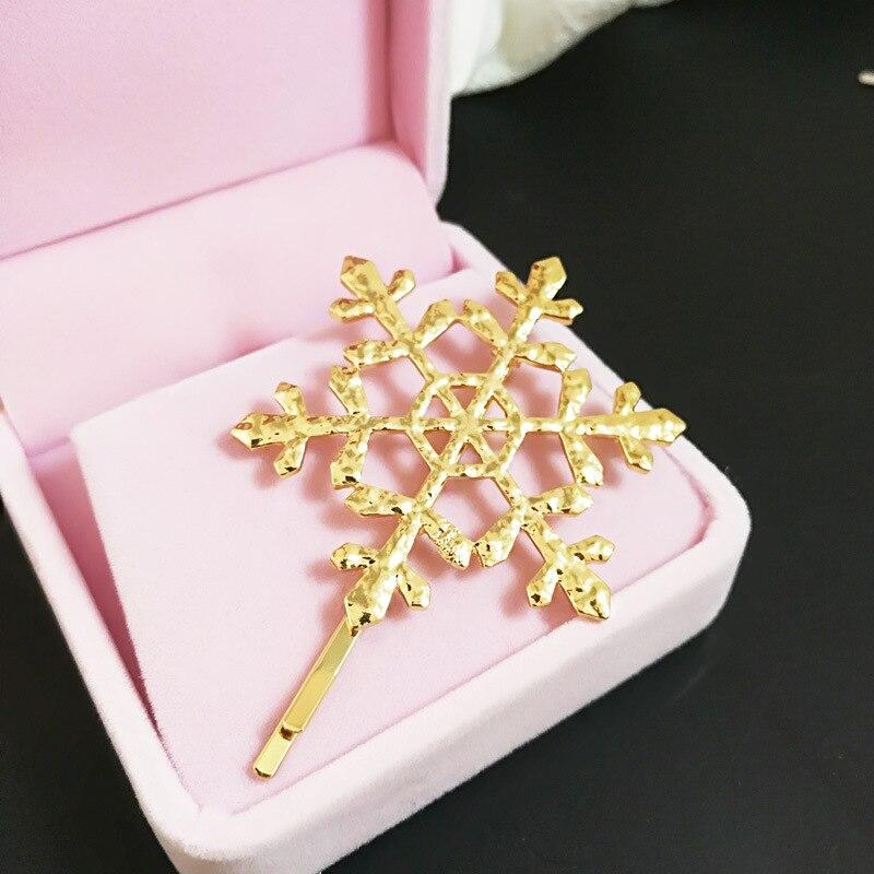 1Pc Hollow Snowflake Hair Pin Hair Clip Matte Hollow Metal Hairpin Vintage Hairclip Hair Styling Tools Hair Claw Accessories