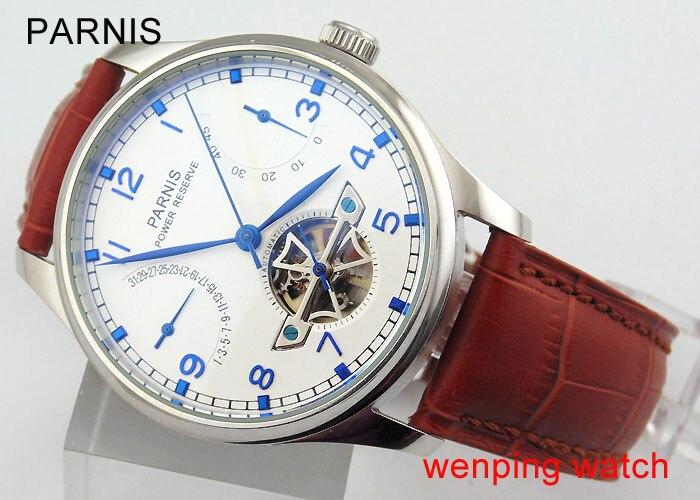 Parnis 43mm cadran blanc boîtier en acier réserve de marche automatique montre homme E388-in Montres mécaniques from Montres    1