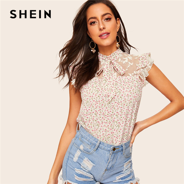 a144c3c0a8c SHEIN Boho Apricot Ditsy Floral Tie Neck Embroidered Mesh Yoke Top  Sleeveless Blouse Women Summer Stand Collar Elegant Blouses