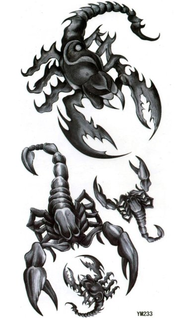 Hot ! Nontoxic and Tasteless Waterproof Men Body Scorpion Sticker Temporary Tattooing YM233