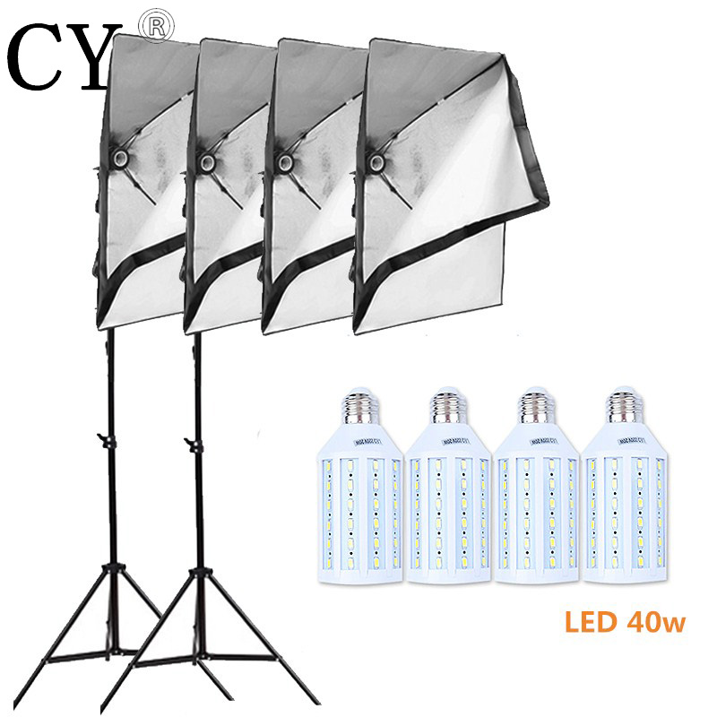 Inno Photo Studio Video Lighting Kit 4pcs 40w LED Light +Photography Two 200cm Light Stand + 4pcs 50x70cm Softbox Set