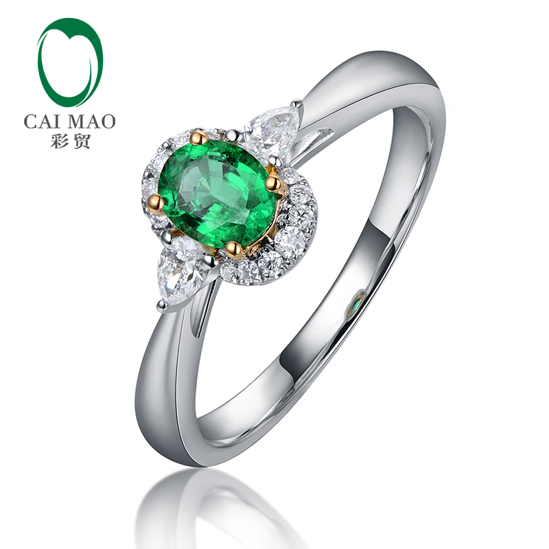 Caimao Oval Cut 0.37ct Natural Emerald Waterdrop Diamond Engagement Ring for Women 14kt White Gold caimao exquisite jewelry natural cabochon cut emerald baguette cut diamond 14kt white gold drop earrings
