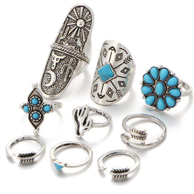 9PCS Vintage Bohemian Beach Women Ring Set Ethnic Style Antique Silver Midi Fing