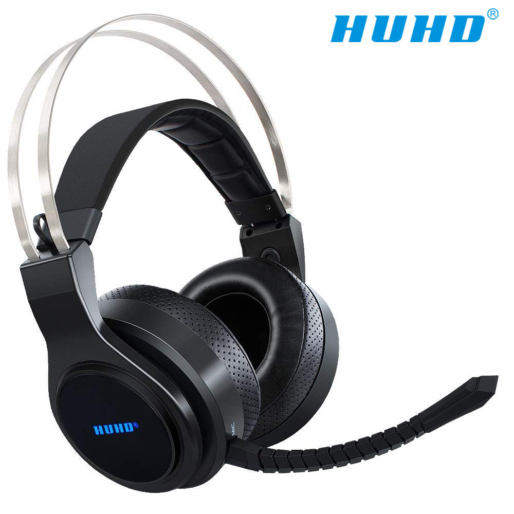 HUHD New Stereo Gaming Headset for Nintendo SWITCH PS4 PC Wireless 2.4Ghz Noise Canceling Headphone Virtual 7.1 Surround Sound huhd 2 4ghz wireless gaming headband headphone w mic for xbox 360 ps3 ps4 pc more black