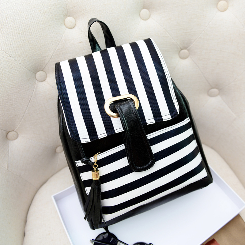 2016 New Female Package Korean Version Fashionable Backpack Classic Wild Temperament PU Stripes Double Backpacks Schoolbag