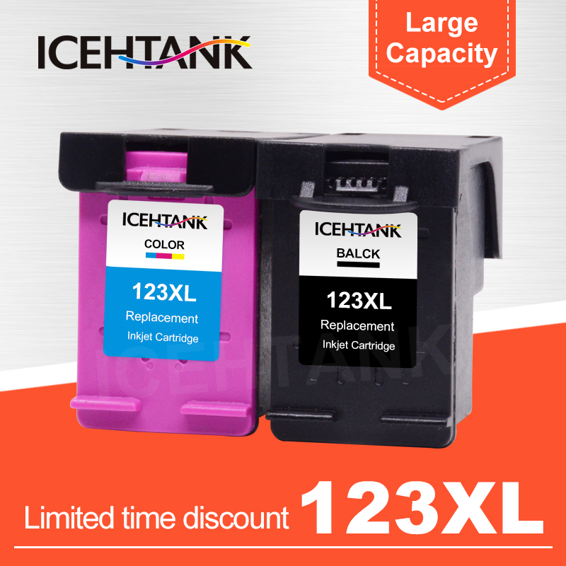 ICEHTANK Compatible Ink Cartridge Replacement For <font><b>HP</b></font> 123 XL Deskjet 1110 2130 2132 2133 2134 <font><b>3630</b></font> 3632 3637 Printer Cartridges image