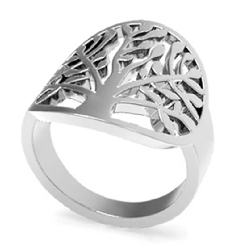 SZ 4-12 Stainless Steel Leaf Tree of Life Ring Mother's Day Daughter Birthday Anniversary Statement Cocktail Party Children Girl
