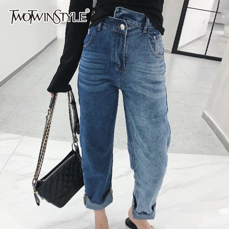 Twotwinstyle Irregular Jeans For Women High Waist Vintage Cuffs Plus