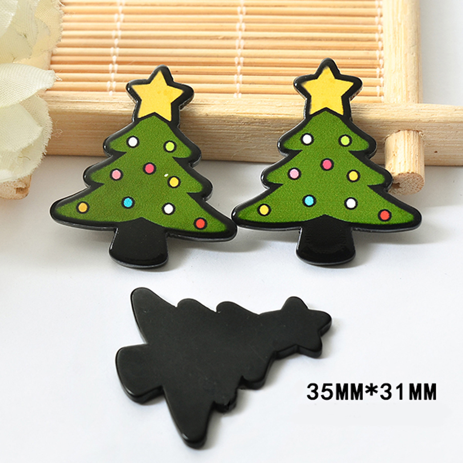 50pcs/lot 35*31MM Merry Christmas Tree Resin Flatback For Hair Bow Black  Color