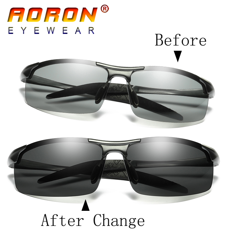 e99c1a792c AORON Original Brand HD Lens Photochromic Polarized Sunglasses Men Driving  Day and Night Vision Goggles Sun Glasses Eyeglasses-in Sunglasses from  Apparel ...