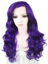 Imstyle Глубокая волна 24 дюйм(ов) Длинные Парики Женщин Фиолетовый Термостойкие синтетические кружева перед Парик для косплея